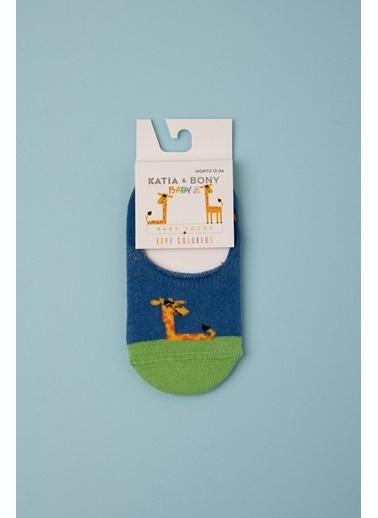 Katia & Bony Zürafa Desenli Görünmez Bebek Çorap - Mavi Mavi